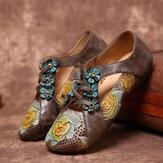 SOCOFY Retro reliëf bloemen splicing bloemen holle veterschoen op platte schoenen