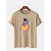 100% Cotton Cute Cartoon Space Astronaut Round Neck Short Sleeve Loose T-Shirts