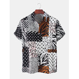 Men Zebra Leopard Dot Mixed Print Short Sleeve Patchwork Holiday Shirts