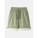Mens Cotton Solid Color Drawstring Loose Fit Casual Shorts