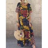 المرأة قصيرة الأكمام طاقم الرقبة الأزهار القطن فستان ماكسي خمر