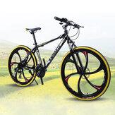 KAIMARTE 26 inch 21-Speed Mountain Bike 6 Blade Wheels Double Disc Brake Suspension Bike Students Adult Road Bikes for 160-185cm Height