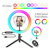 BlitzWolf® BW-SL5 10inch RGB LED Ring Light Dimmable Selfie Ring Lamp for YouTube Tiktok Live Stream Makeup With Tripod Phone Holder