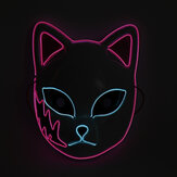 LED Lichtgevend Masker Halloween Flash Masker Japanse Animatie Dans Props EL Lichtgevend Kat Gezichtsmasker