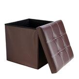 Banco de armazenamento de couro PU Multifuncional Sofá otomano Apoio para os pés Caixa Assento Banco de pés Cadeira quadrada Móveis de escritório