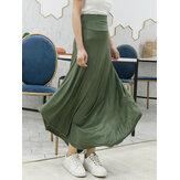 Women Solid Color Irregular Hem Elastic Waist Skirts