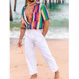 Mens Summer Fashion Rainbow Colorful Chemises à rayures
