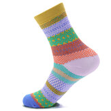 Unisex Women Men Harajuku Style Stripe Katoenen Sokken Design Multi-Color Mid Calf Hosiery