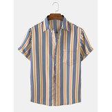 メンズ縦縞胸ポケット半袖カジュアルリラックスシャツ