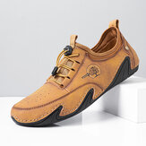 Men Comfy Microfiber Leather Breathable Non Slip Soft Hand Stitching Casual Shoes