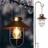 Lanterna retro alimentada a energia solar preta / bronze ao ar livre pendurada lâmpada solar vintage com aquecimento