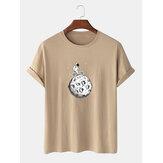 綿100%の面白い宇宙飛行士プリントラウンドネック半袖カジュアルTシャツ