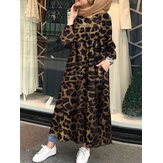 Leopard Printed Button Down Front Kaftan Tunic Maxi Dress with Side Pockets