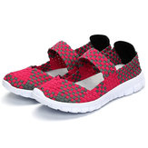 Mulheres Casual Light Knitting Sport Health Respirável Flat Shoes