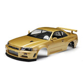 Killerbody 48645 NISSAN SKYLINE (R34) Finished Body Shell Champaign-gold for 1/10 Touring Car