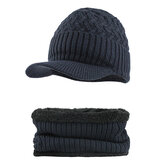 На открытом воздухе Зима Plus Бархатный вязаный Шапка Шарф Комплект Earmuffs Cap