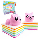 Sanqi Elan Triangle Rainbow Cat Squishy 13 * 10 * 10.5 CM Licencja Slow Rising With Packaging Collection Gift