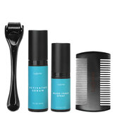 4Pcs Upgraded Men Beard Growth Kit Beard Roller Sanitizer Activator Serum Comb
