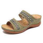LOSTISY Handgemaakte stiksels holle comfortabele comfortabele sandalen