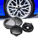 4pcs Black ABS Carbon Fiber 60mm/58mm Universal Car Wheel Center Cap Cover