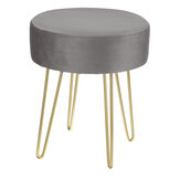 Round Dressing Table Stool Soft Velvet Piano Chair Makeup Seat Wire Legs Home Bedroom Creative Low Stool