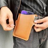 Telefono in tinta unita da uomo in ecopelle Borsa Retro facile da trasportare Vita Borsa EDC Cintura Borsa Con anello Cintura
