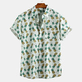Mens Summer Pineapple Printed Breathable Casual Shirts