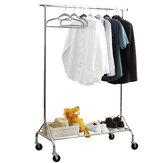 1pc wieszak na ubrania z półką netto i kółkami mobilny składany wygodny wieszak na ubrania organizer gospodarstwa domowego