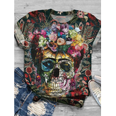 Colorful Skeleton Floral Print T-shirts de designer