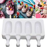 4-Zellen-Silikon-Eiscreme-Form-Saft-Eis am Stiel-Hersteller-Eislutscher-Pop-Form