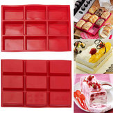 9 Cavity Rectangle Silicone Bread Cup Mould DIY Chocolate Sapone Vassoio Bakeware