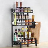 Estante de especias de cocina de 2/3 niveles, estante de almacenamiento de utensilios de cocina de acero inoxidable, frascos, soporte para botellas, escritorio de cocina, ahorro de espacio Organizador