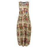 Kadınlar Vintage Tribal Baskı Pamuk Kolsuz Bohemian Casual Elbise
