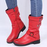 Женские большие размеры в стиле ретро, однотонные ботинки с пряжкой и ремешком на пятке