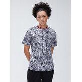 Mens Fashion Crew Cuello Camisetas casuales de manga corta con impresión de cartón