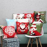 Новые рождественские чистые хлопчатобумажные вышитые наволочки Чехлы для Санта-Снежинки для дивана Авто Главная Декоративные