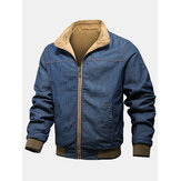 Mens Cotton Zip Front Lapel Collar Denim Double-Faced Jackets