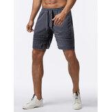 Herren Fahrrad Tasche elastische Taille einfarbig Kordelzug lose Shorts Sport Shorts