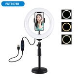 PULUZ PKT3078B 7.9 Inch 3 Modes Dimmable USB LED Curved Ring Light with Desktop Tripod Phone Holder for Photography Vlog Video