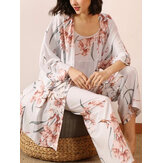 3Pcs Women Floral Print Sling Wide Leg Pants Open Front Robes Casual Home Pajama Set