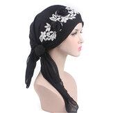 Vrouwen katoen moslim dunne elastische tulband mutsen cap