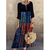 Ethnic Print Patchwork Long Sleeve Vintage Maxi Dress For Women
