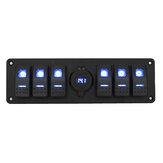 6 Gang Rocker Switch Panel com voltímetro de carregador USB QC 3.0