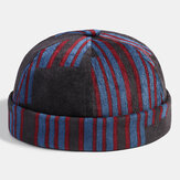 Collrown Men Corduroy Patchwork Color Patch And Stripe Pattern Casual Fashion Brimless Beanie Landlord Cap Skull Cap