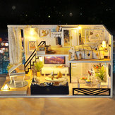 Temps Ombre Moderne Poupée Maison Miniature DIY Kit Dollhouse Avec Meubles LED Light Box Cadeau