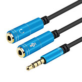 SONGFUL 3.5mm Earphone Headset Splitter Cable Stereo 3.5mm Female to 2 * 3.5mm Male Computer Microphone Audio Conversion Cable for Computer Laptop PC Speaker Amplifier