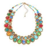 Dames Multicolor Crystal Bedel Goud overdreven Bib ketting