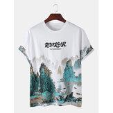 Mens Designer Oriental Ink Landscape Print Short Sleeve Casual T-Shirts