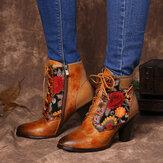 SOCOFYスタイリッシュな刺繍花のスプライシング調節可能なジッパー暖かい裏地スタックヒールアンクルブーツ