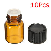 10Pcs 2ml Glass Amber Dripper Bottle For Essential Oils Aromatherapy Crafts